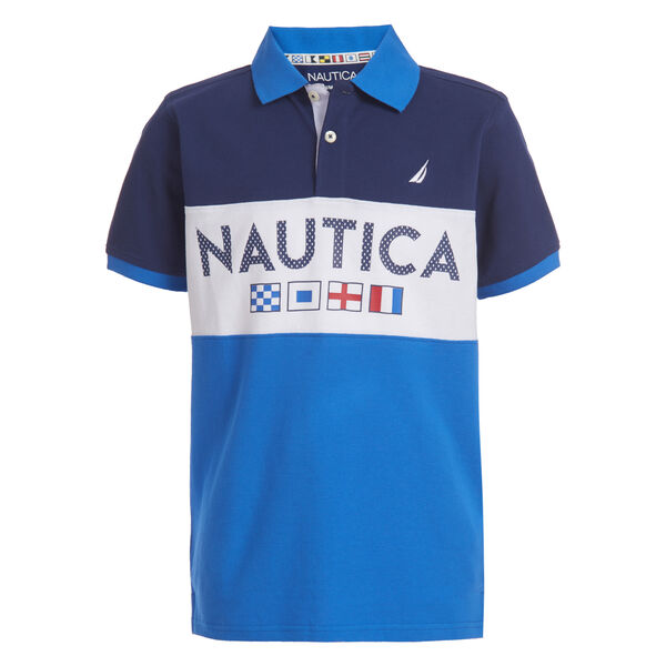 BOYS' MAVERICK COLORBLOCK LOGO HERITAGE POLO (8-20) - J Navy