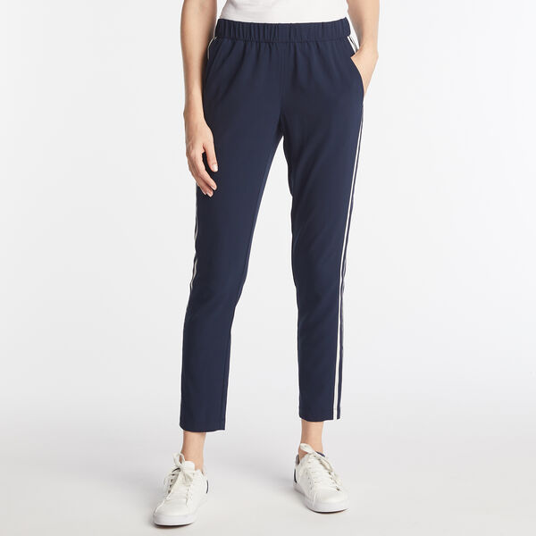 STRIPE SIDE PULL ON PANTS  - Stellar Blue Heather
