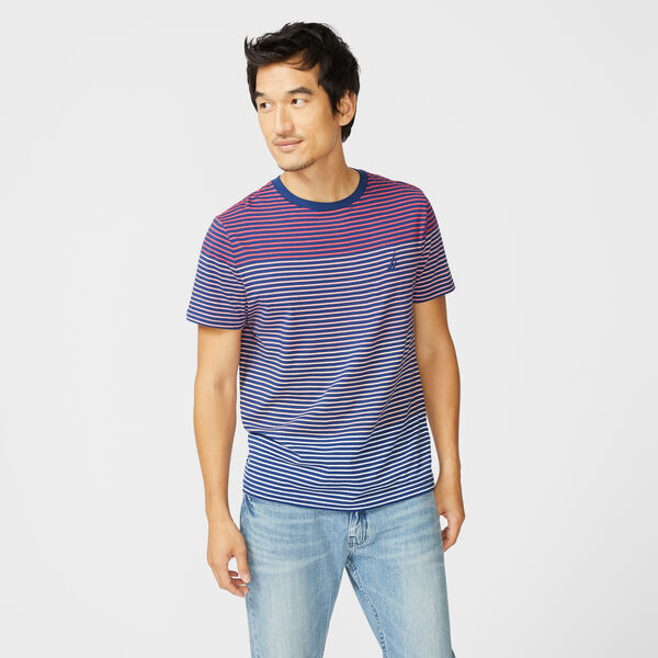 STRIPE COTTON T-SHIRT - Persian Red
