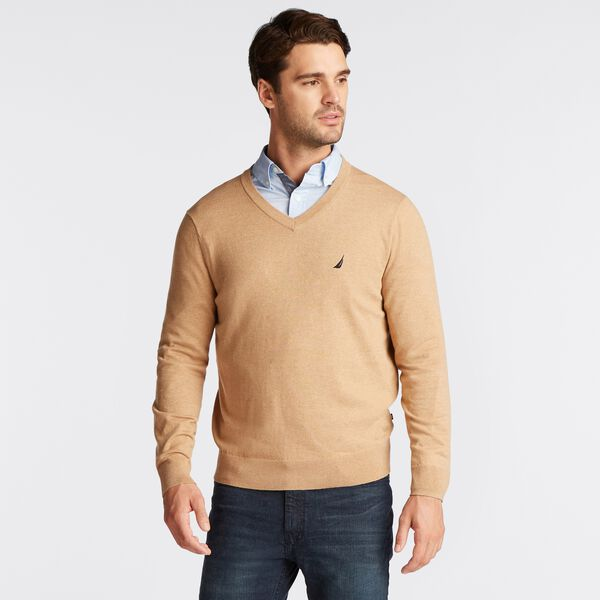 NAVTECH V-NECK SWEATER - Camel Heather
