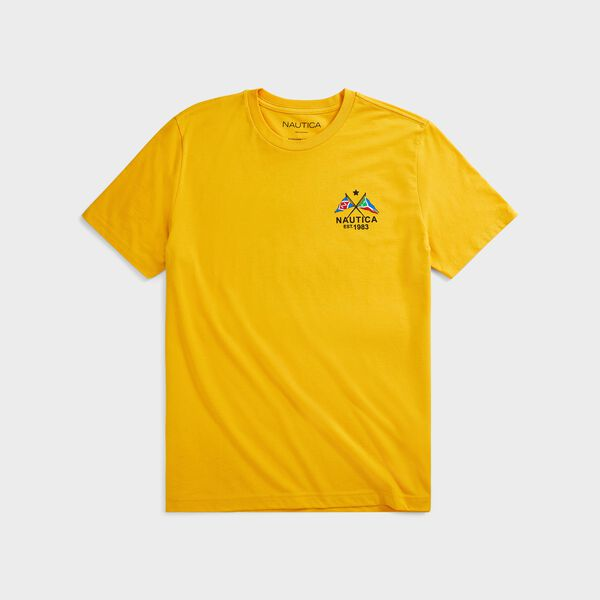 SUSTAINABLY CRAFTED CROSS FLAGS GRAPHIC T-SHIRT - Old Gold