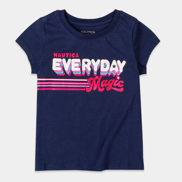 GIRLS' FOIL EVERYDAY MAGIC GRAPHIC T-SHIRT (8-20) - Navy