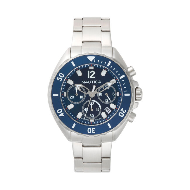 Newport Chronograph Stainless Steel Watch,Ice Blue,large