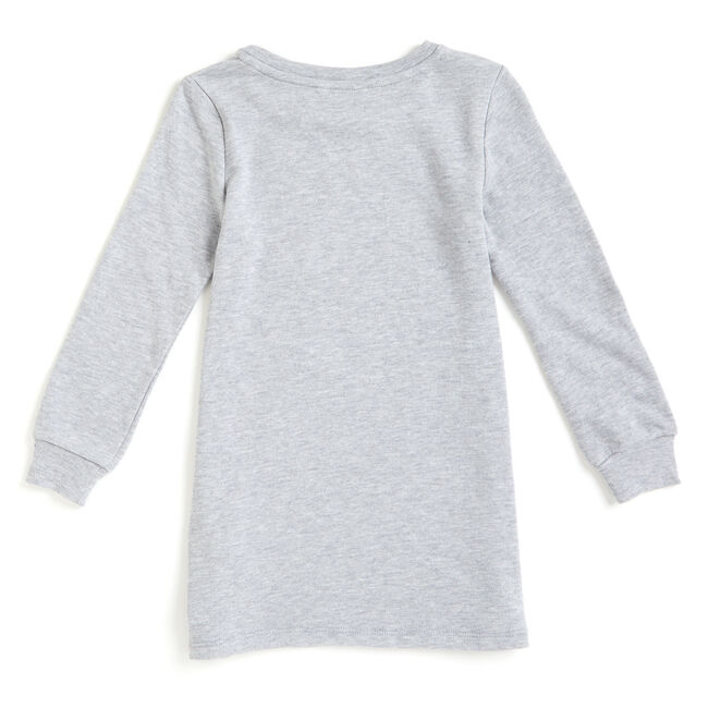 Girls' Patchwork Knit + Woven Dress,Grey Heather,large