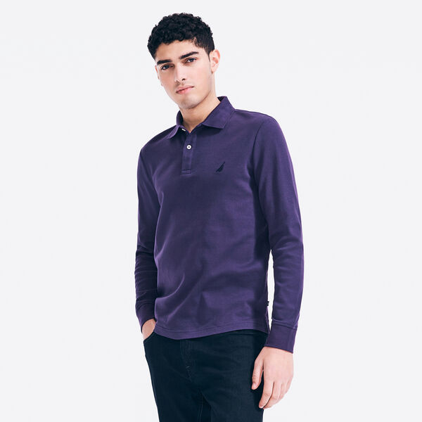 CLASSIC FIT LONG SLEEVE POLO - Blackberry