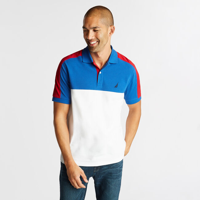 CLASSIC FIT POLO IN COLORBLOCK,Windsurf Blue,large