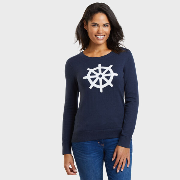 Long Sleeve Ship's Wheel Intarsia Sweater - Deep Sea