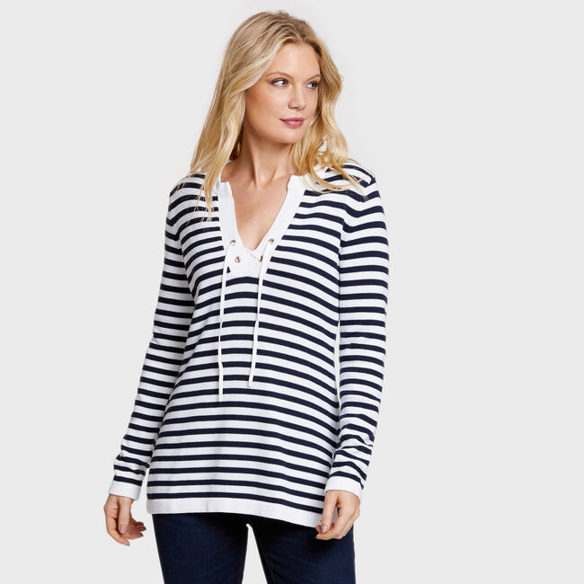 Long Sleeve Striped Tunic Sweater,Bright White,large