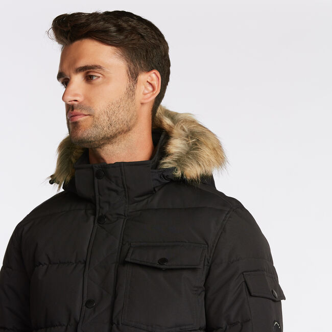 BIG & TALL PARKA WITH REMOVABLE HOOD,Black,large