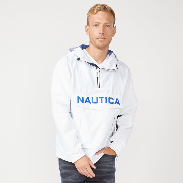 LIGHTWEIGHT HOODED PULLOVER JACKET - Bright White