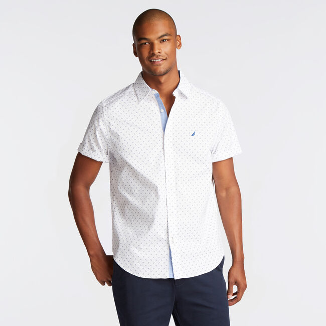 CLASSIC FIT SHORT SLEEVE OXFORD SHIRT IN DIZZY ANCHOR PRINT,Bright White,large