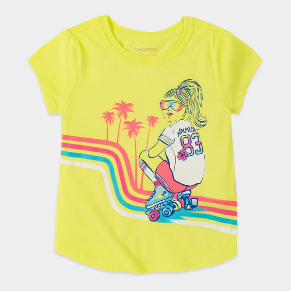 TODDLER GIRLS' ROLLER GIRL GRAPHIC T-SHIRT (2T-4T) - Light Yellow