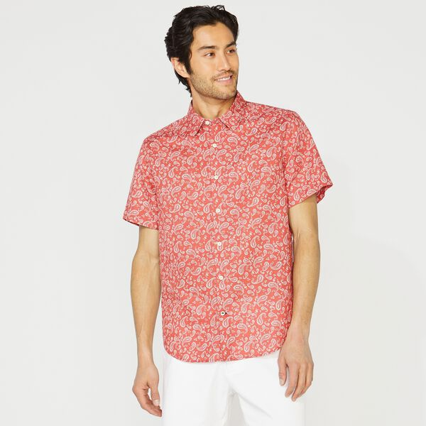 CLASSIC FIT LINEN PAISLEY SHIRT - Mineral Red