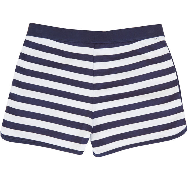 Little Girls' Striped Dolphin Short (2T-7),Navy,large