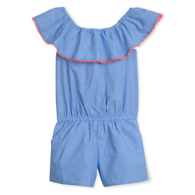 GIRLS' CHAMBRAY ROMPER,Peacoat,large