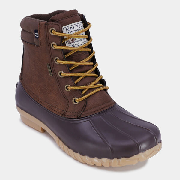 WATER-RESISTANT LACE-UP DUCK BOOT - Brown Stone