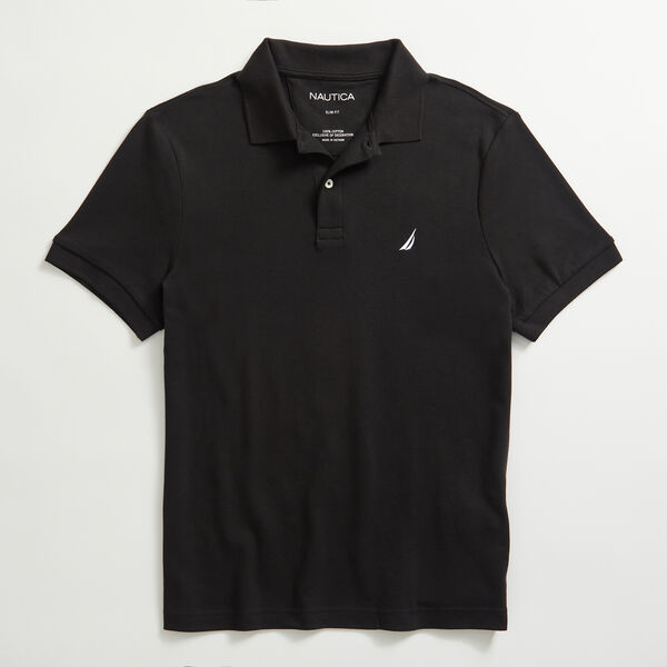 SLIM FIT INTERLOCK POLO - True Black