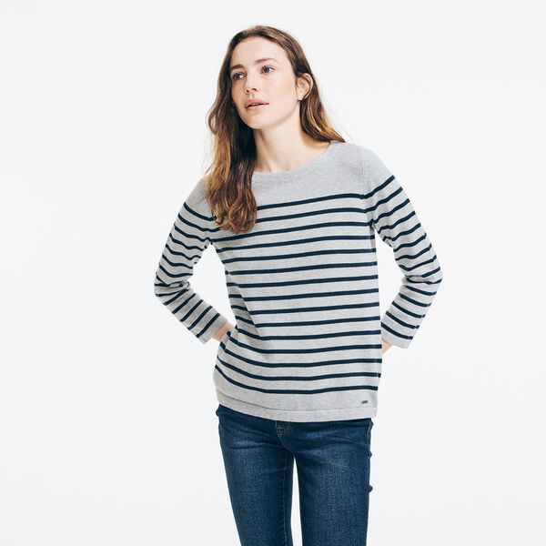 Lace-Up Back Striped Sweater - Fog