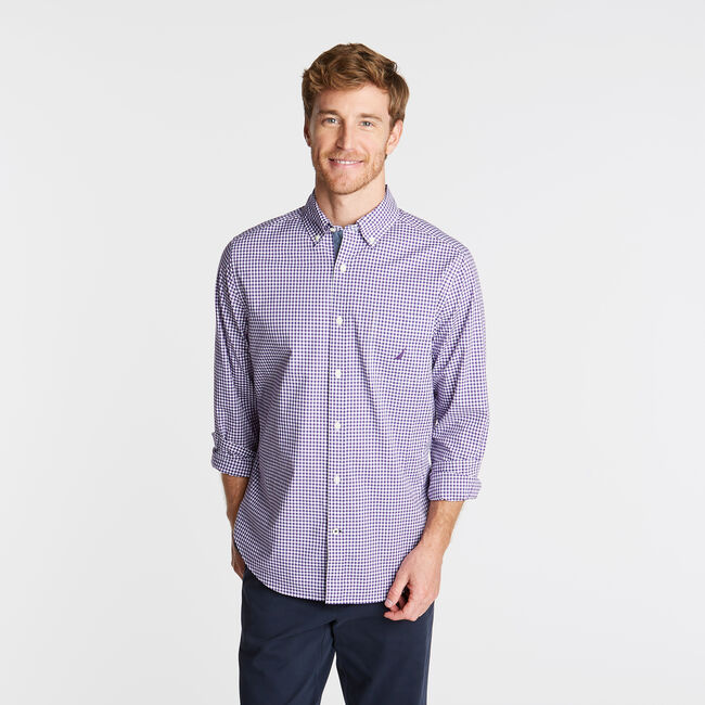 CLASSIC FIT POPLIN SHIRT IN GINGHAM,Majestic Purple,large
