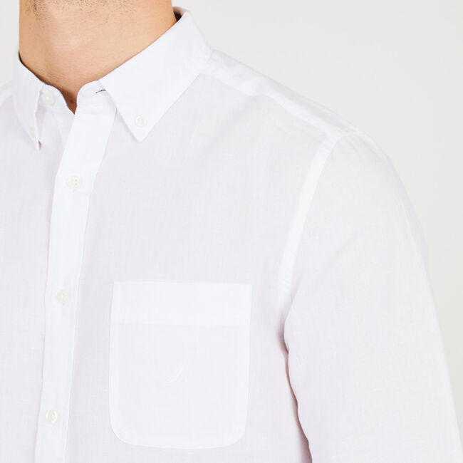 Long Sleeve Linen Solid Button Down,Bright White,large