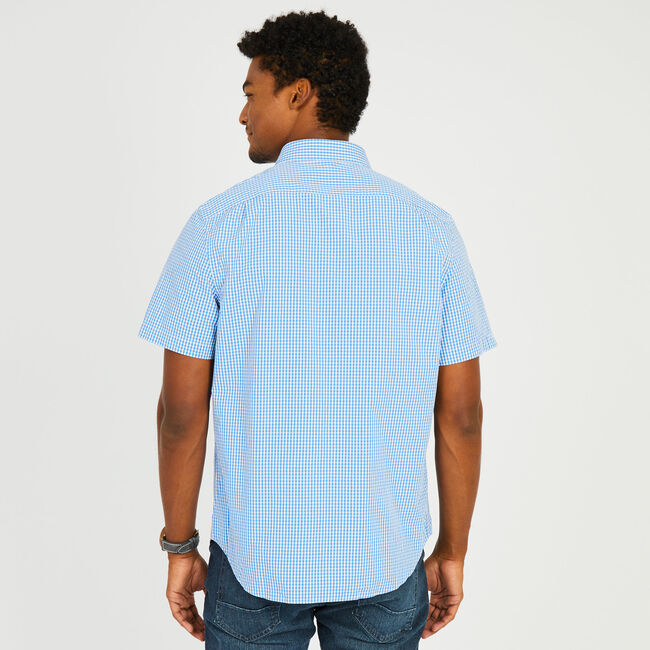 Short Sleeve Button-Down Gingham Shirt,Clear Skies Blue,large
