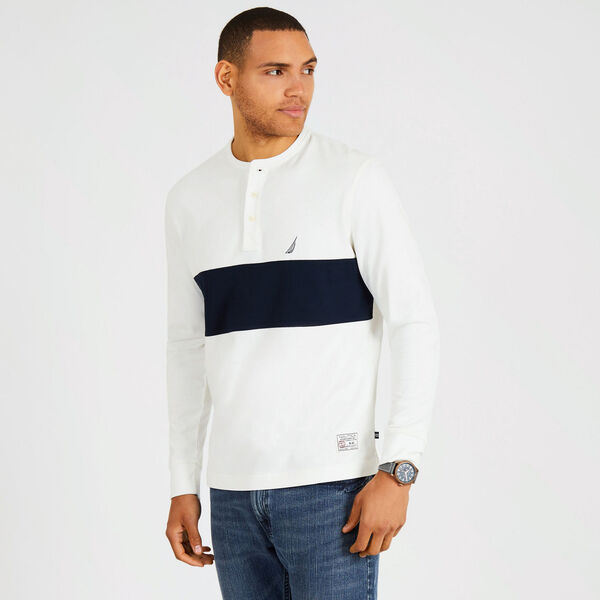 Long Sleeve Colorblock Henley - Marshmallow