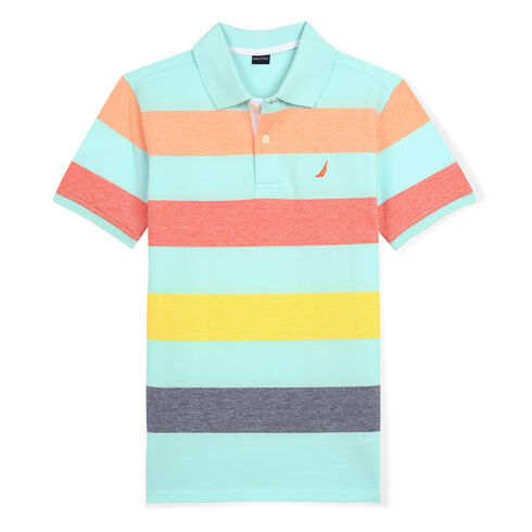 Boys' Nicholas Polo in Multicolor Stripe (8-20) - Cargo Green