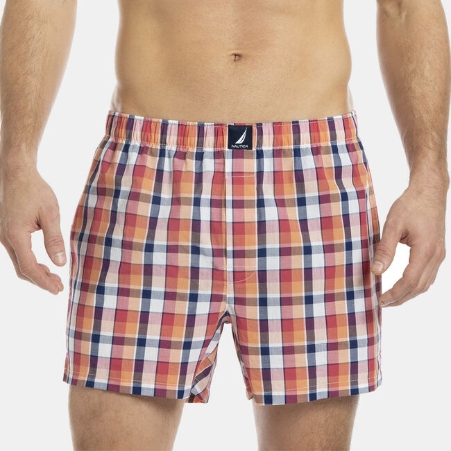 WOVEN BOXER IN PLAID,Peach Glow,large