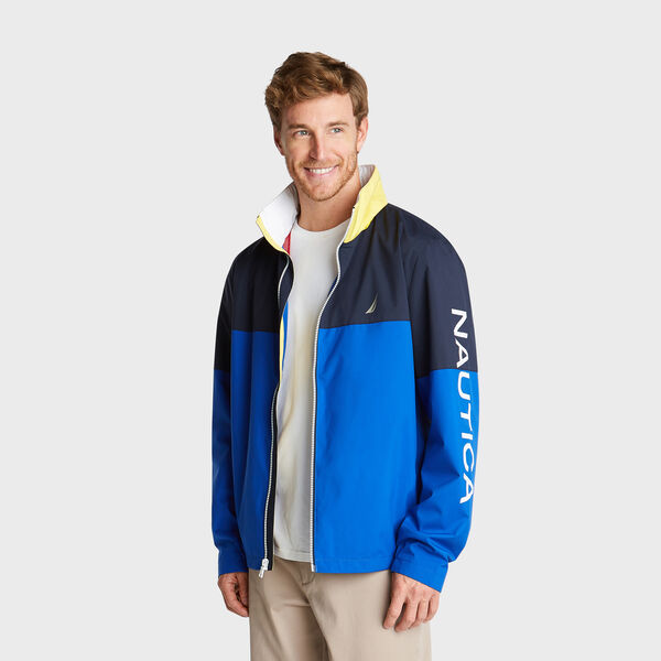 LIGHTWEIGHT COLORBLOCK BOMBER WITH CONCEALED HOOD - Bright Cobalt