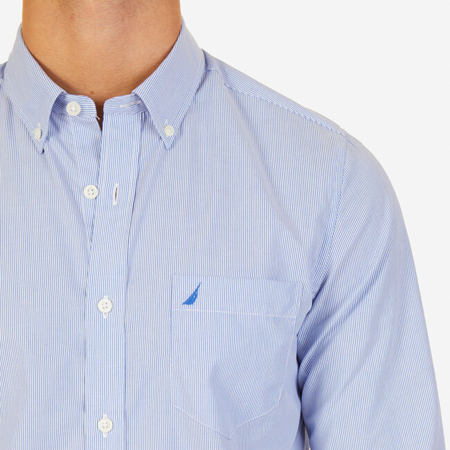 Long Sleeve Pinstriped Slim Fit Button Down,French Blue,large
