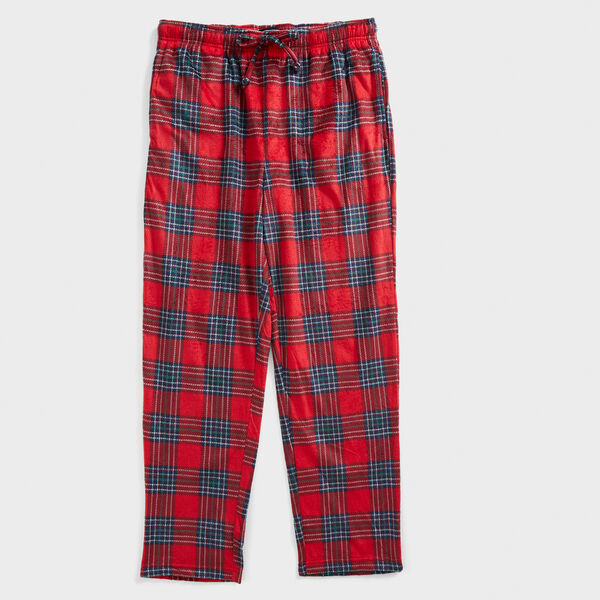 PLAID SUEDED FLEECE SLEEP PANT - Nautica Red