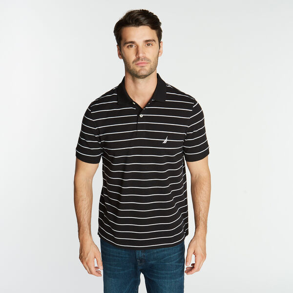 CLASSIC FIT MESH POLO IN STRIPE - True Black