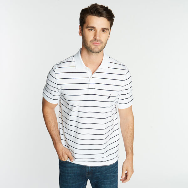 CLASSIC FIT STRIPE DECK POLO - Bright White