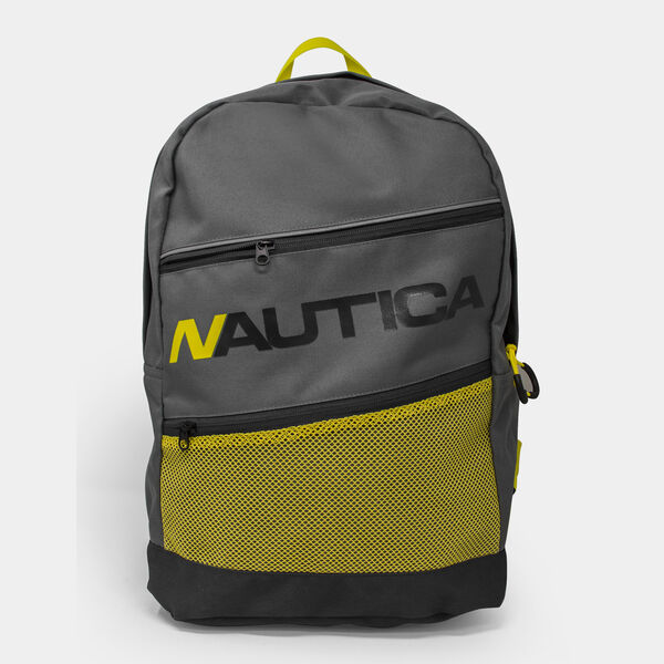 MESH-ACCENTED LOGO TRI-PANEL BACKPACK - Gunmetal Grey