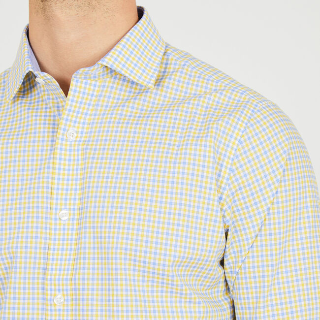 Long Sleeve Classic Fit Multi-Check Shirt,Mustard Field,large