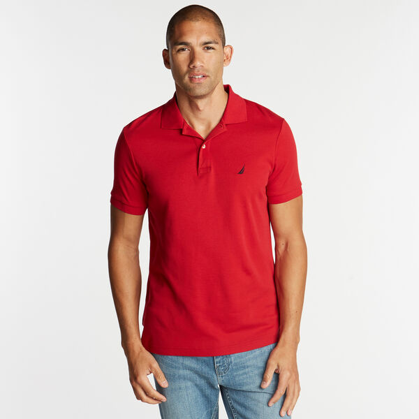 Short Sleeve Slim Fit Solid Interlock Polo - Nautica Red