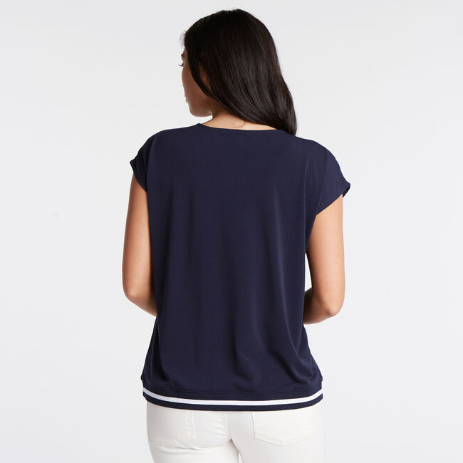Jersey Crepe Blouse,Stellar Blue Heather,large