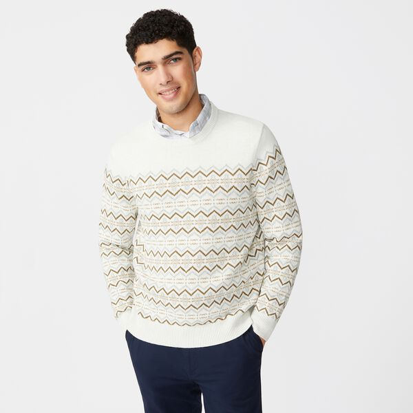 FAIR ISLE CREWNECK SWEATER - Wheat Flax