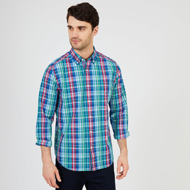 Plaid Long Sleeve Classic Fit Button Down,Monaco Blue,large