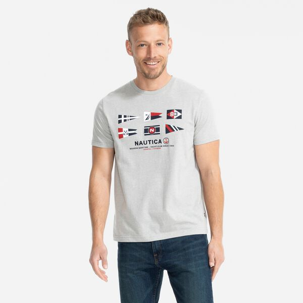 SUSTAINABLY CRAFTED FLAG GRAPHIC T-SHIRT - Grey Heather