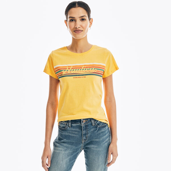 SUSTAINABLY CRAFTED CHEST-STRIPE GRAPHIC T-SHIRT - Sun Fish Yellow