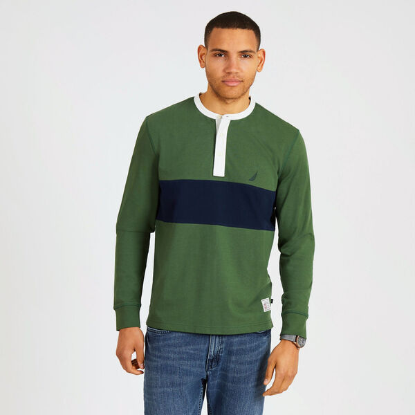 Long Sleeve Colorblock Henley - Green Glow