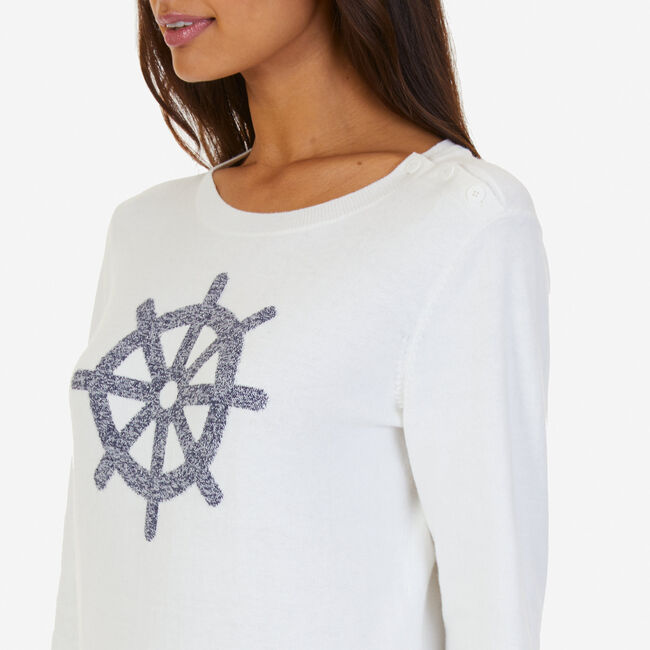 Long Sleeve Ship's Wheel Intarsia Sweater,Marshmallow,large