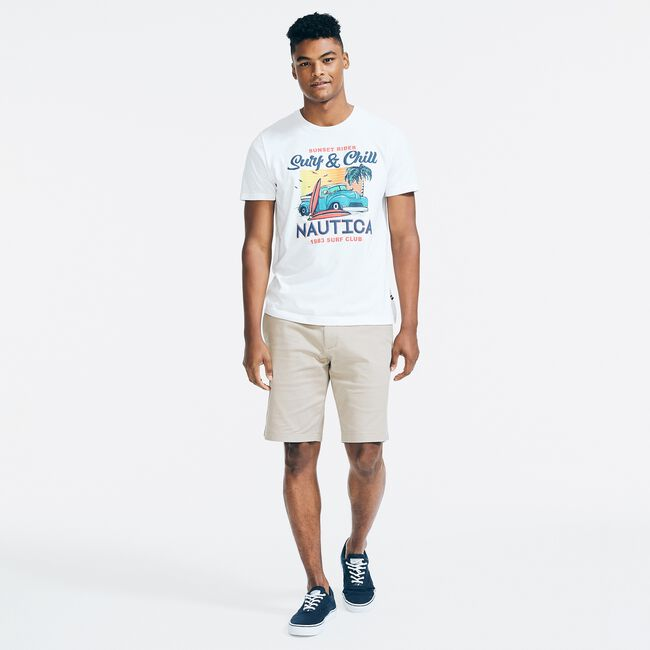 SUSTAINABLY CRAFTED SURF & CHILL GRAPHIC T-SHIRT,Bright White,large