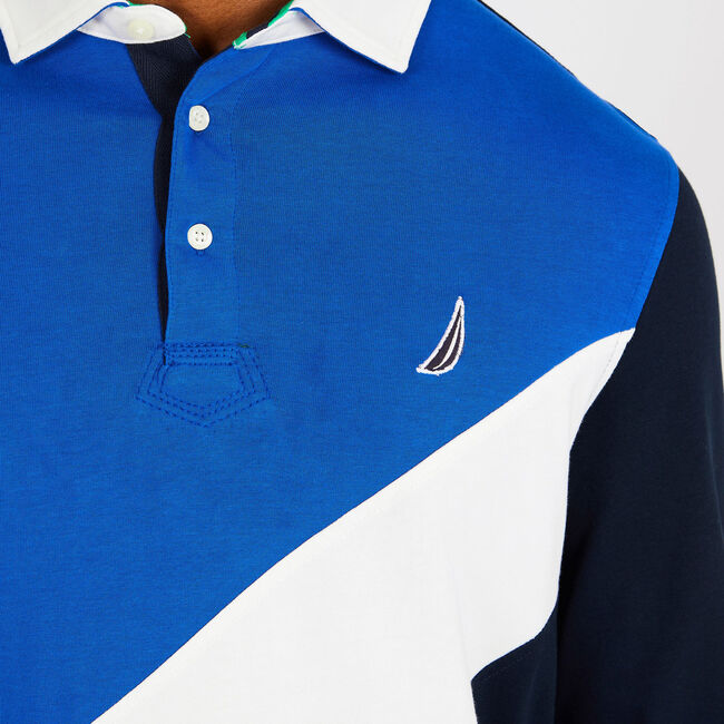 Long Sleeve Classic Fit Souvenir Polo,Bright Cobalt,large
