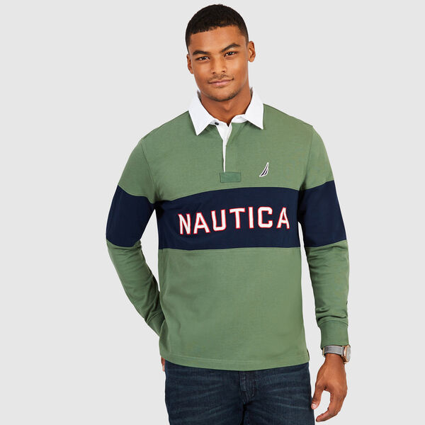 Long Sleeve Colorblock Logo Classic Fit Polo - Green Glow