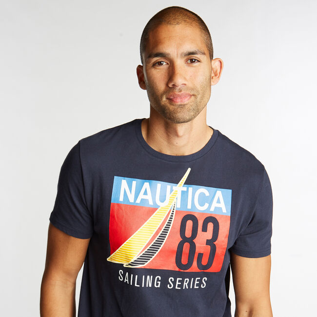 JERSEY T-SHIRT IN SAILING SERIES GRAPHIC,Pure Dark Pacific Wash,large