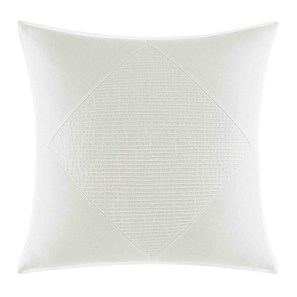 Bronwell Pieced Pintuck Large Square Pillow in Ivory - Ivory
