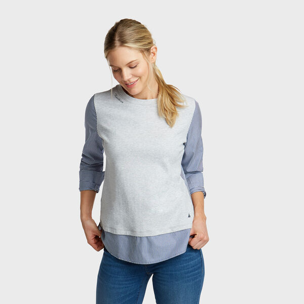 Long Sleeve Mixed Media Top - Pale Blue