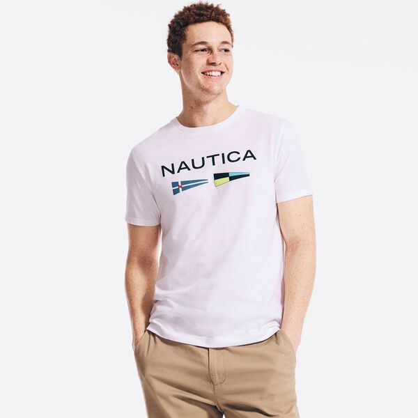 SUSTAINABLY CRAFTED FLAG GRAPHIC T-SHIRT - Bright White